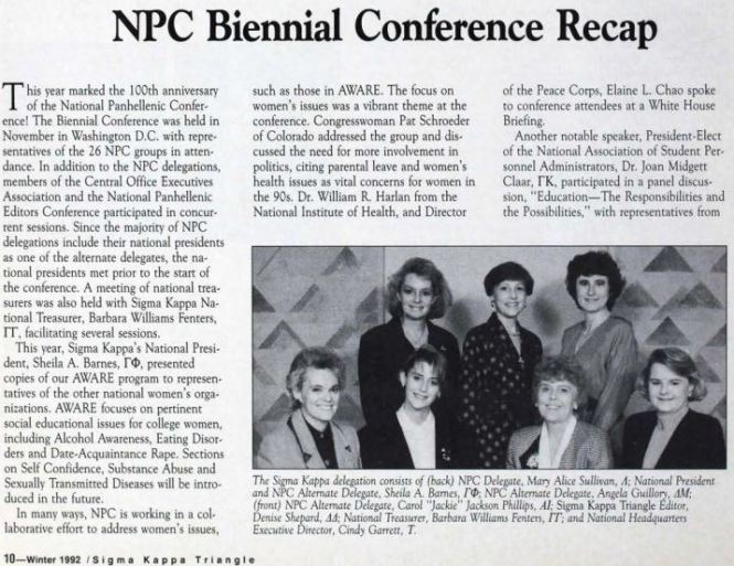 1992 Sigma Kappa Triangle article about NPC
